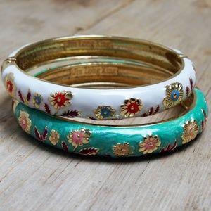 VTG Jiu Long Xing Enameled Floral Bracelets